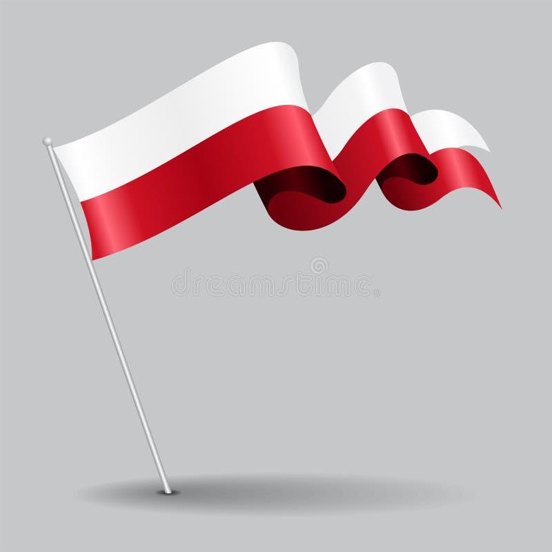 Bandiera ondulata del perno polacco Illustrazione di vettore royalty illustrazione gratis