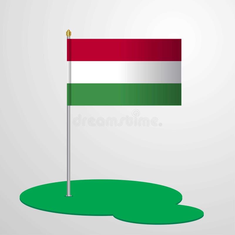 Bandiera palo dell'Ungheria illustrazione vettoriale