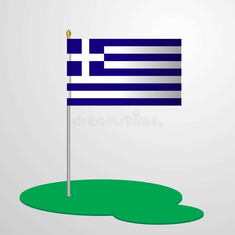 Bandiera palo della Grecia royalty illustrazione gratis