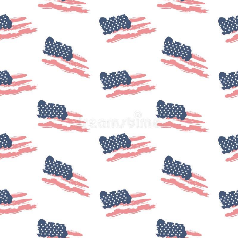 Bandiera patriottica senza cuciture S.U.A. del modello illustrazione vettoriale