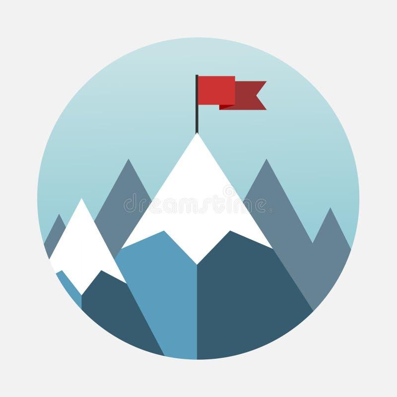 Bandiera piana di vettore sulla montagna illustrazione di stock