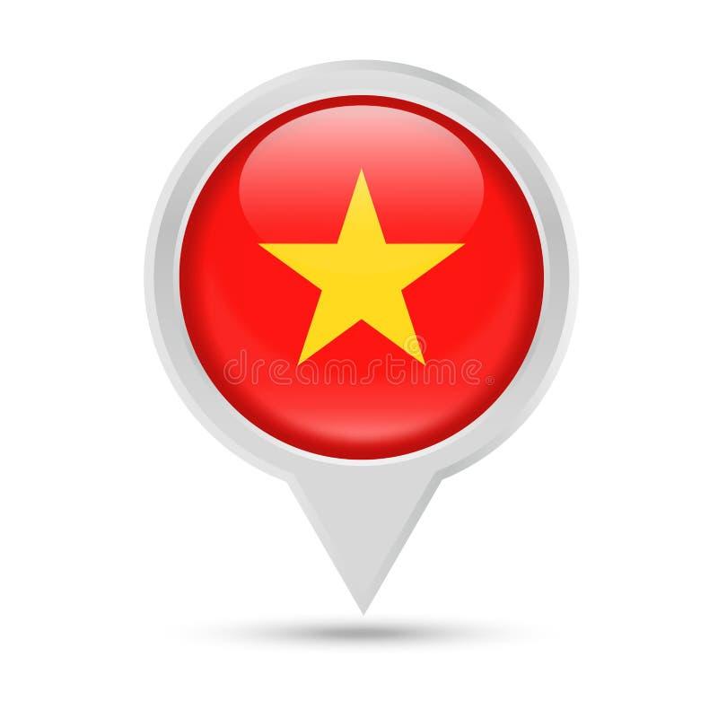 Bandiera Pin Vector Icon rotondo del Vietnam illustrazione di stock