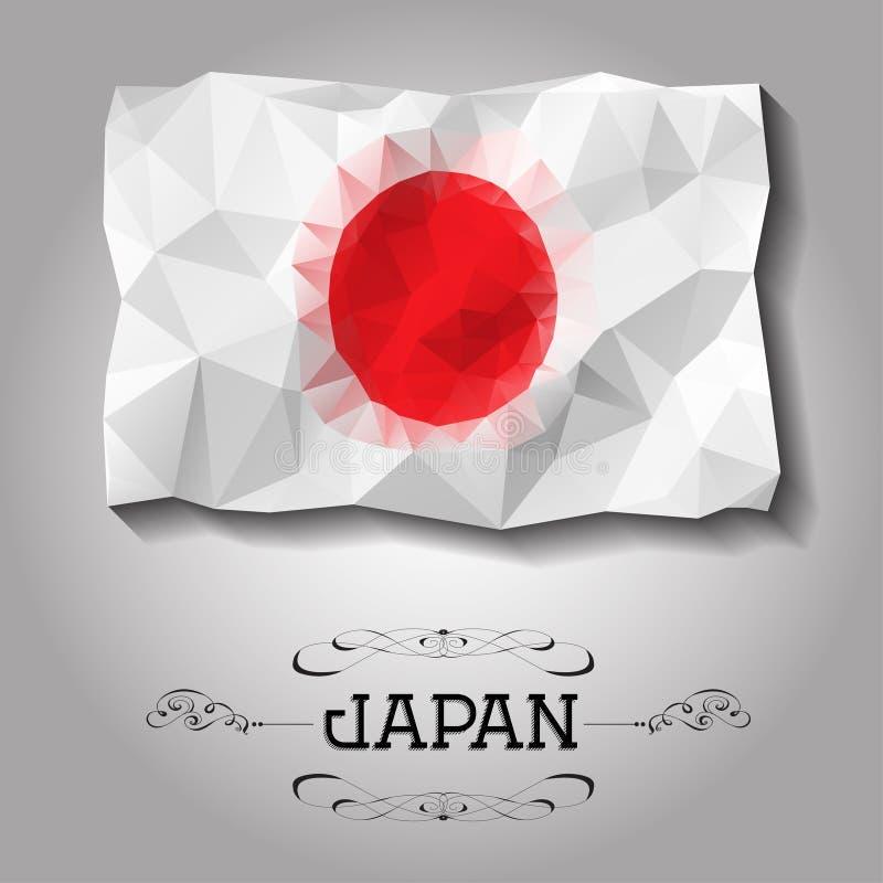 Bandiera poligonale geometrica del Giappone di vettore illustrazione vettoriale