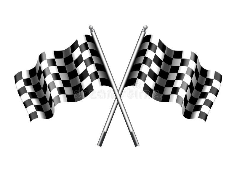 Bandiera a quadretti, corsa striata del motore di sport delle bandiere royalty illustrazione gratis