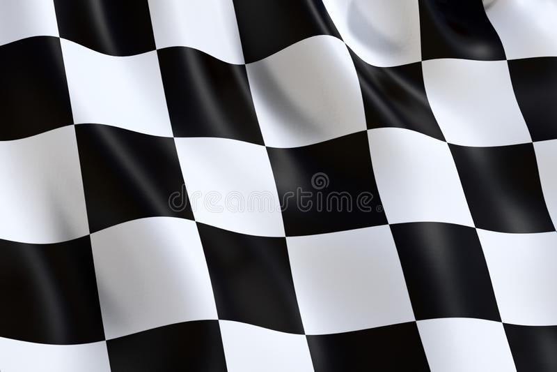 Bandiera a quadretti di sport di motore, ondeggiante nel vento illustrazione vettoriale