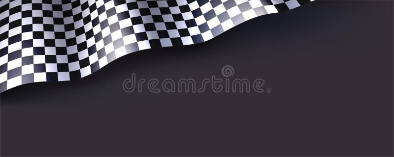 Bandiera a quadretti isolata su fondo nero per la corsa di automobile o il motorsport Illustrazione tridimensionale di vettore pe royalty illustrazione gratis