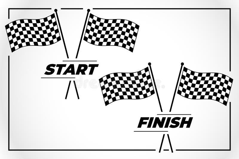 Bandiera a quadretti per la corsa di rivestimento e di inizio royalty illustrazione gratis