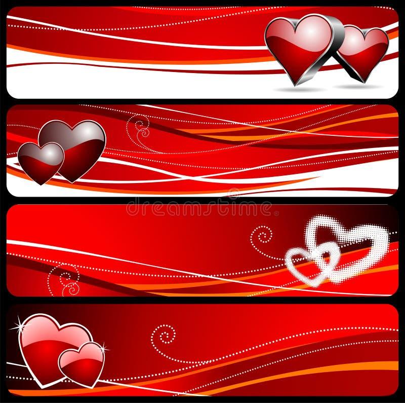 Bandiera quattro per il giorno del biglietto di S. Valentino royalty illustrazione gratis