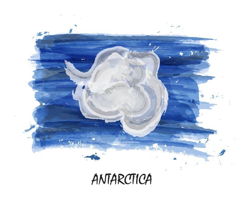 Bandiera realistica della pittura dell'acquerello dell'Antartide Vettore illustrazione vettoriale