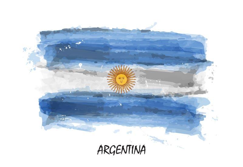 Bandiera realistica della pittura dell'acquerello dell'Argentina Vettore illustrazione di stock
