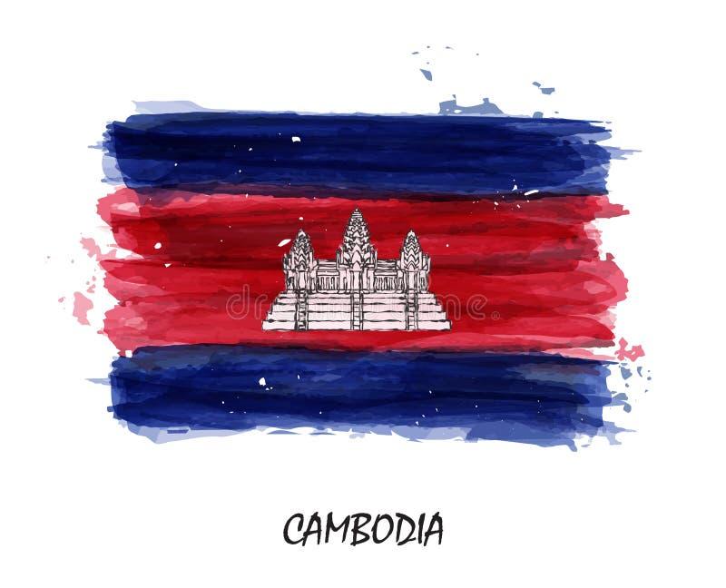 Bandiera realistica della pittura dell'acquerello della Cambogia Vettore royalty illustrazione gratis