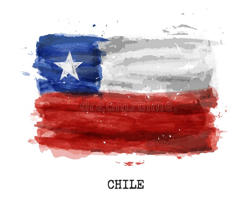 Bandiera realistica della pittura dell'acquerello del Cile Vettore illustrazione vettoriale