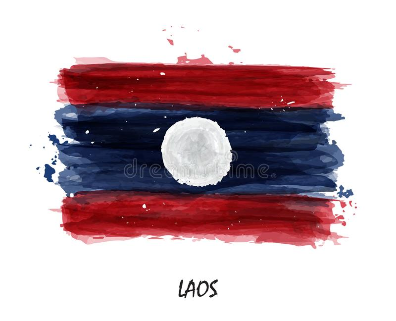 Bandiera realistica della pittura dell'acquerello del Laos Vettore illustrazione di stock