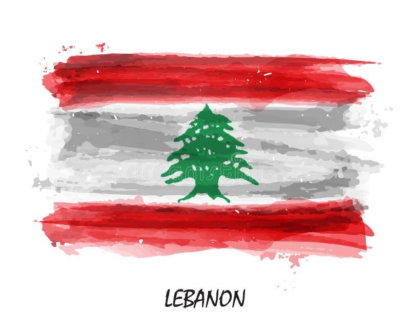 Bandiera realistica della pittura dell'acquerello del Libano Vettore illustrazione di stock