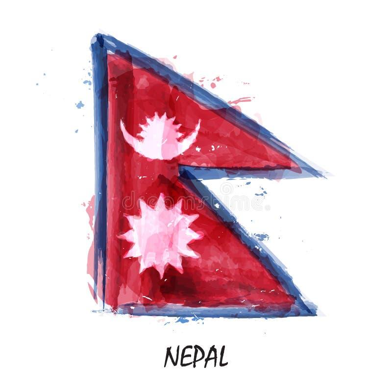 Bandiera realistica della pittura dell'acquerello del Nepal Vettore illustrazione di stock