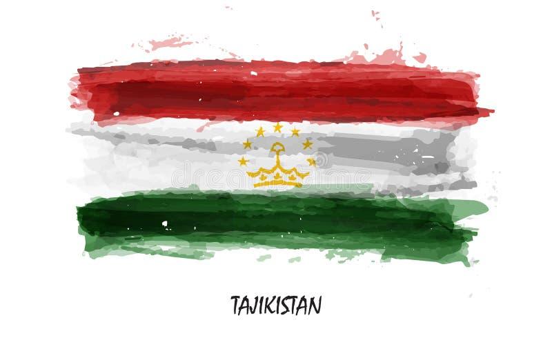Bandiera realistica della pittura dell'acquerello del Tagikistan Vettore illustrazione vettoriale