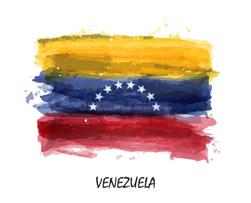 Bandiera realistica della pittura dell'acquerello del Venezuela Vettore illustrazione di stock