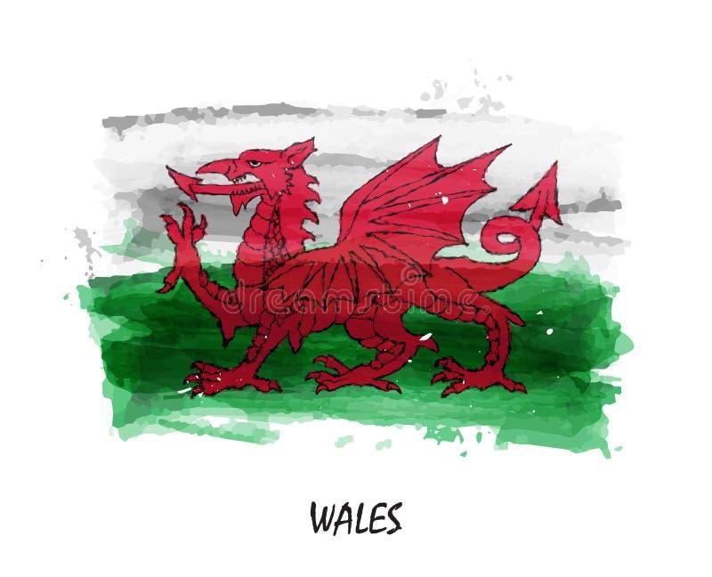 Bandiera realistica della pittura dell'acquerello di Galles Vettore royalty illustrazione gratis