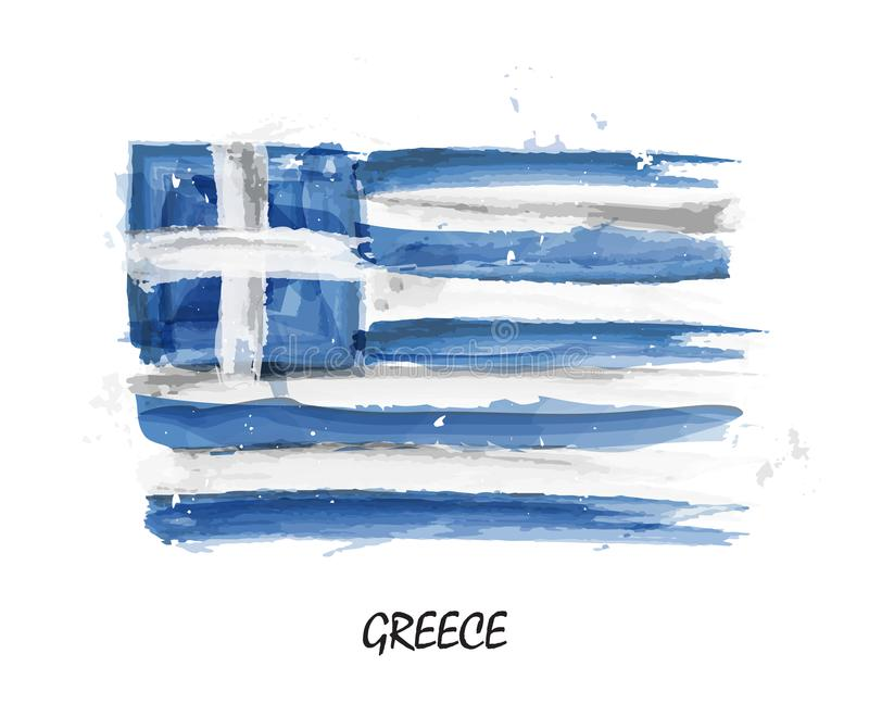 Bandiera realistica della pittura dell'acquerello della Grecia Vettore illustrazione di stock