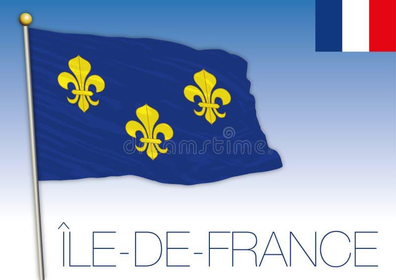 Bandiera regionale dell'Ile de France, Francia, illustrazione di vettore illustrazione vettoriale