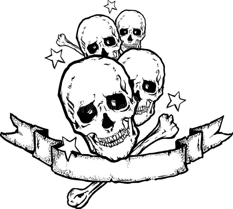 Bandiera roccia/del metallo pesante   royalty illustrazione gratis
