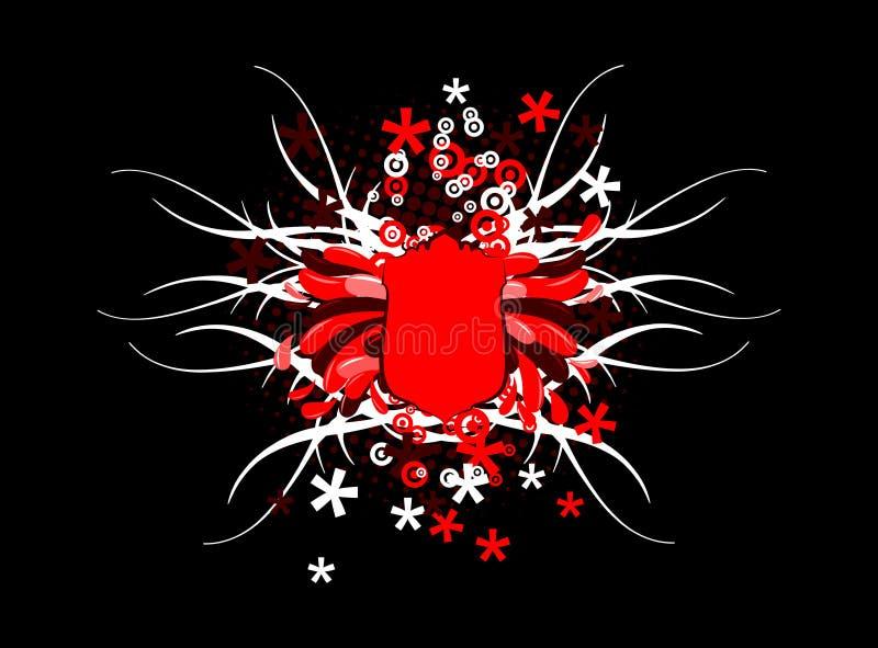 Bandiera rossa in bianco e nero illustrazione vettoriale