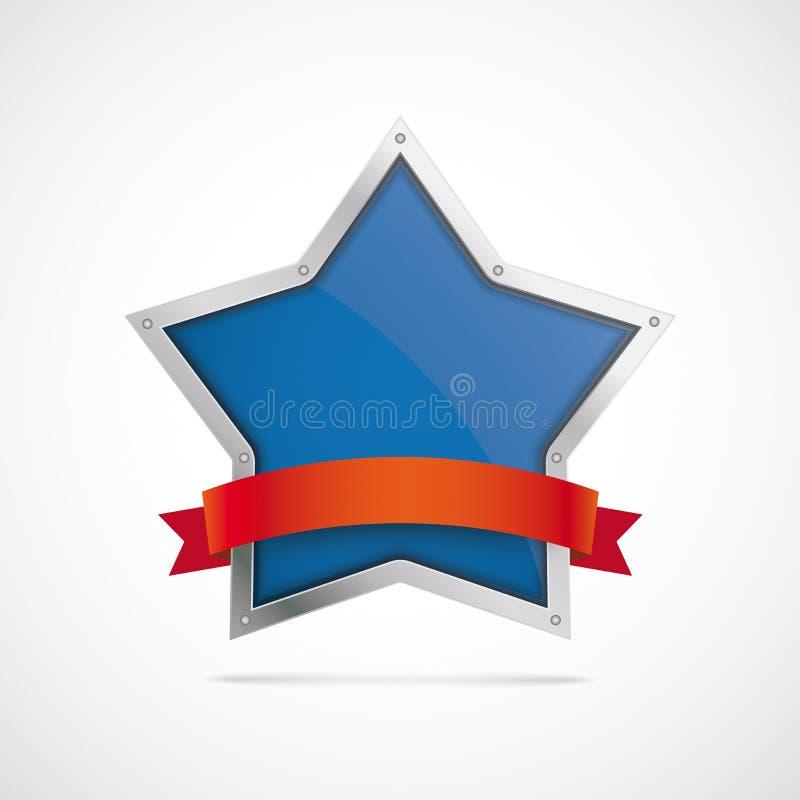Bandiera rossa d'argento della stella illustrazione di stock