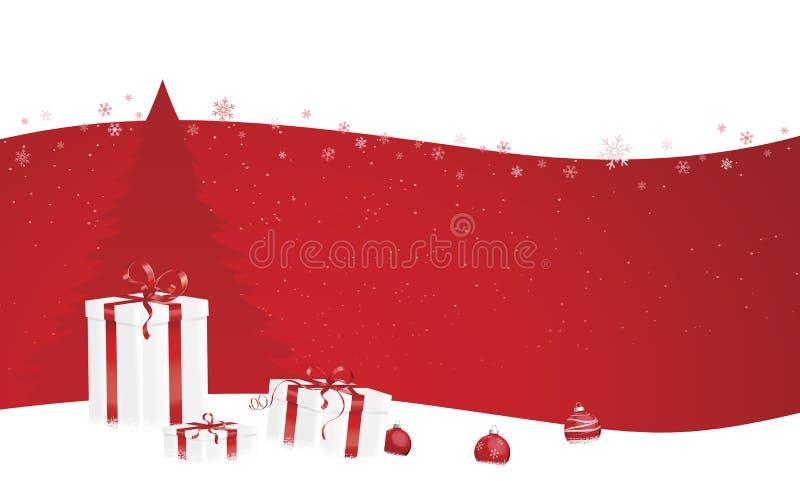 Bandiera rossa di natale con i regali illustrazione vettoriale