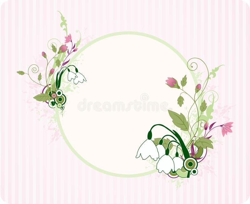 Bandiera rotonda con l'ornamento floreale illustrazione vettoriale