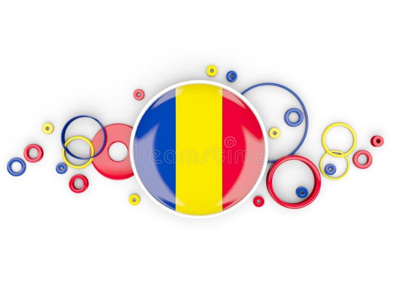 Bandiera rotonda della Romania con il modello dei cerchi royalty illustrazione gratis
