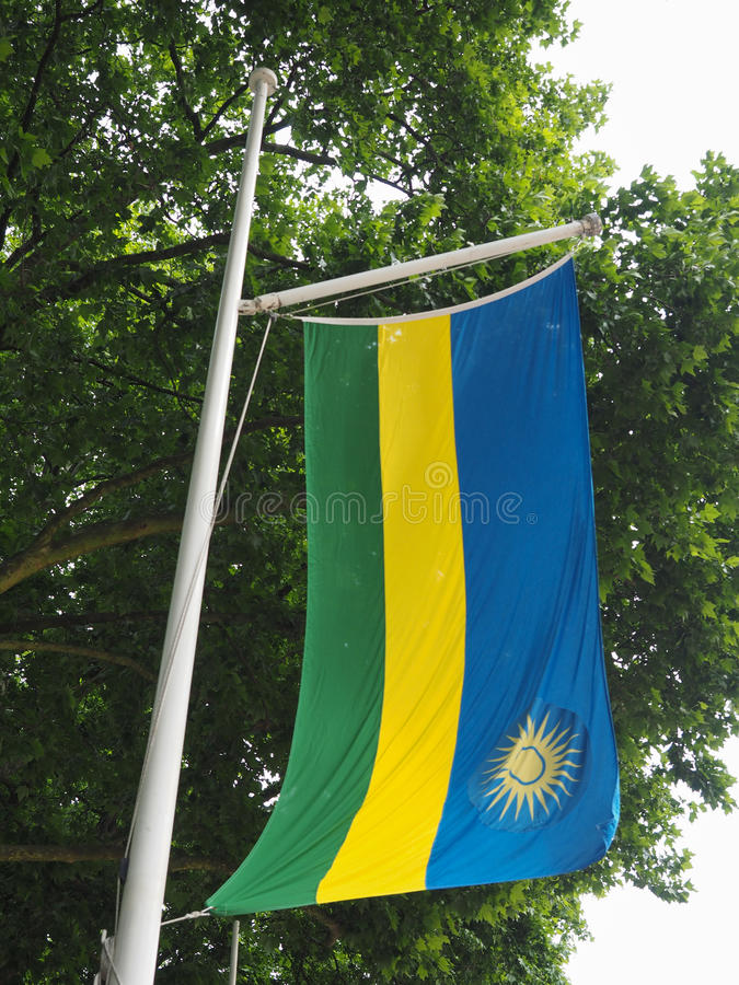 Bandiera ruandese del Ruanda immagine stock libera da diritti