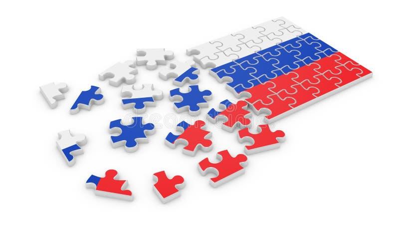 Bandiera russa di puzzle illustrazione di stock