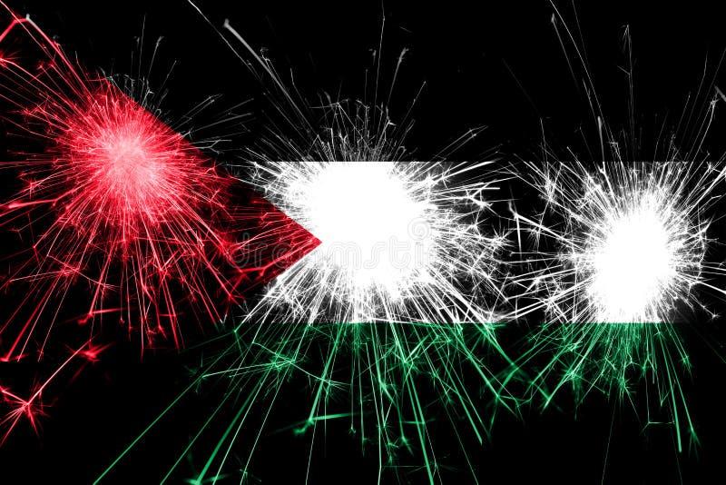 Bandiera scintillante dei fuochi d'artificio della Palestina Concetto del nuovo anno, di Natale e di festa nazionale illustrazione di stock