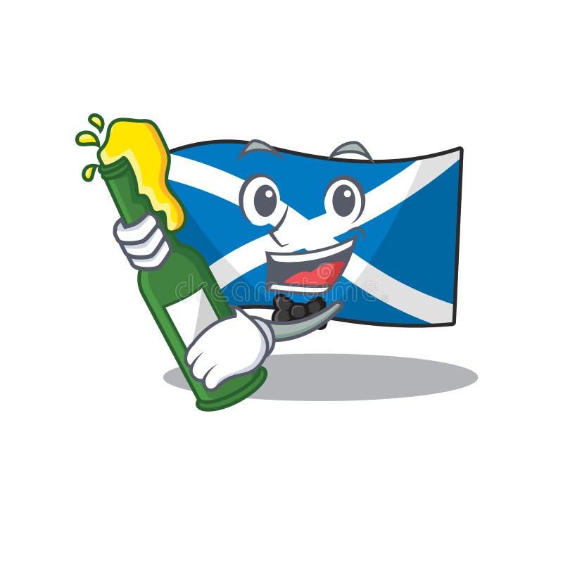 Bandiera Scotland Scorrere con una bottiglia in stile cartone animato con mascotte di birra illustrazione di stock