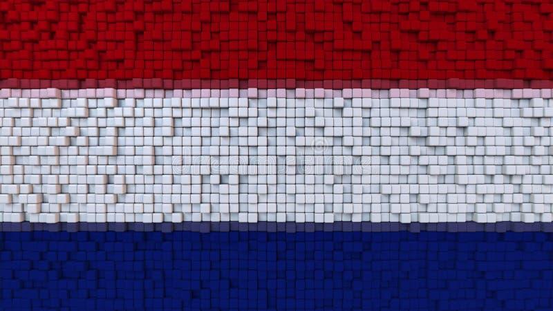 Bandiera stilizzata del mosaico dei Paesi Bassi fatti dei pixel, rappresentazione 3D illustrazione di stock