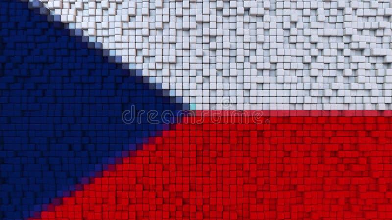 Bandiera stilizzata del mosaico della repubblica Ceca fatta dei pixel, rappresentazione 3D illustrazione vettoriale