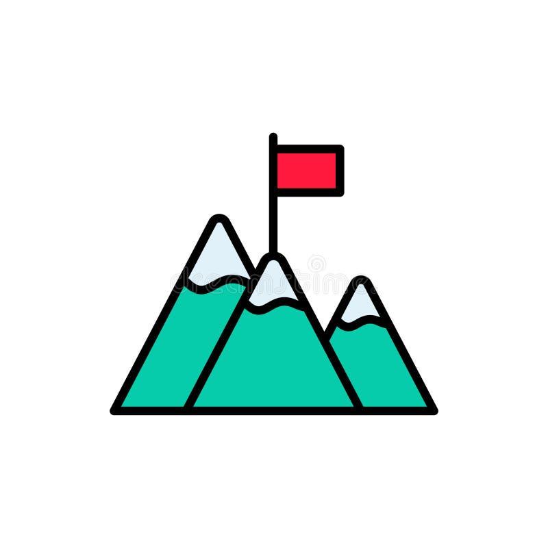 Bandiera sul simbolo piano del segno dell'icona di vettore della montagna illustrazione vettoriale
