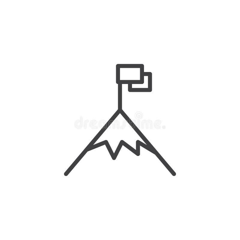 Bandiera sull'icona del profilo del picco di montagna illustrazione vettoriale