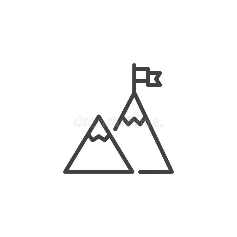 Bandiera sull'icona del profilo del picco di montagna royalty illustrazione gratis