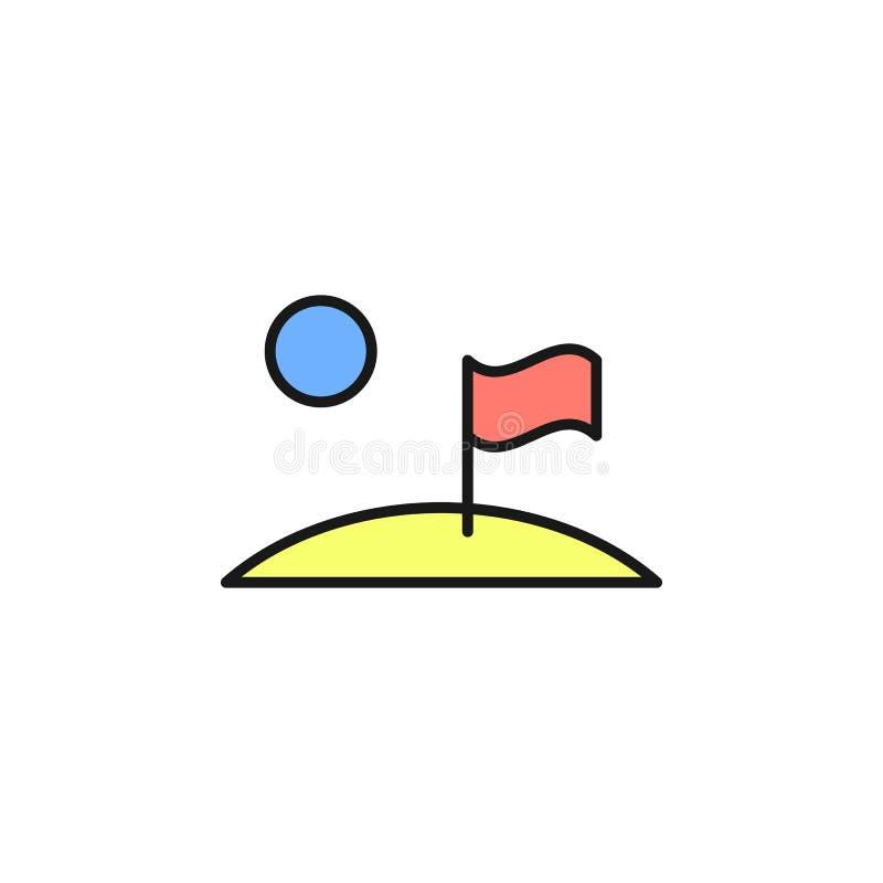 Bandiera sull'icona della luna Elemento dell'icona di colore del profilo dello spazio Linea sottile icona per progettazione del s illustrazione vettoriale