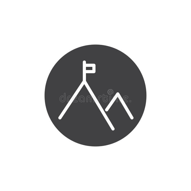 Bandiera sull'icona di vettore del picco di montagna royalty illustrazione gratis