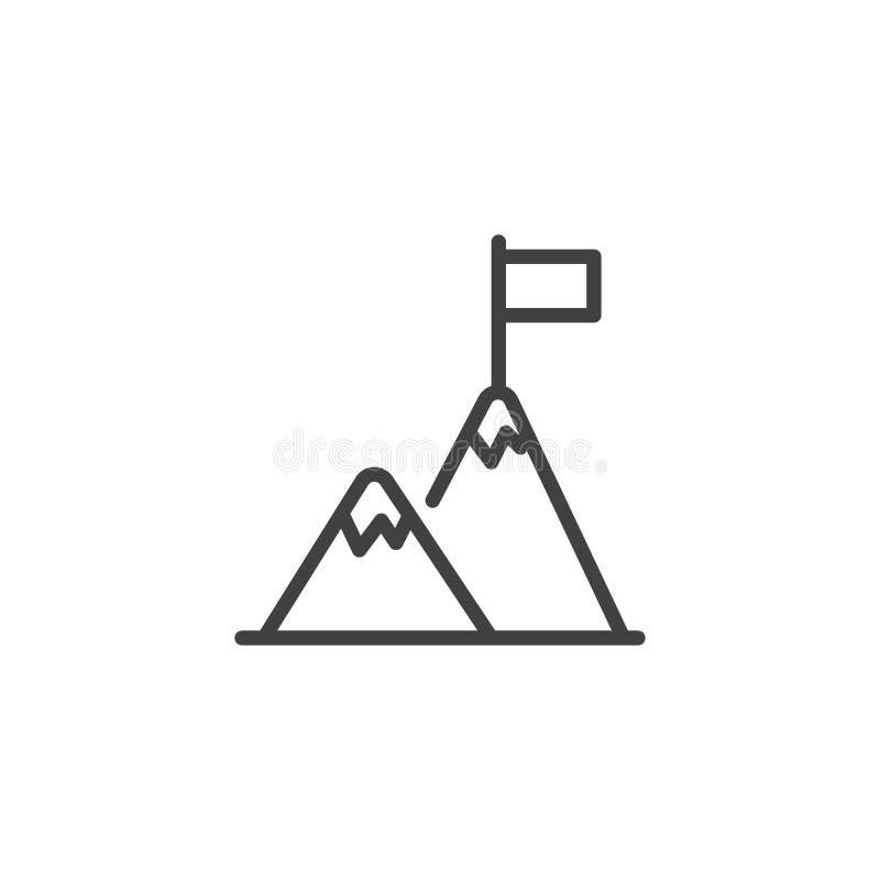 Bandiera sulla linea icona della cima della montagna illustrazione di stock