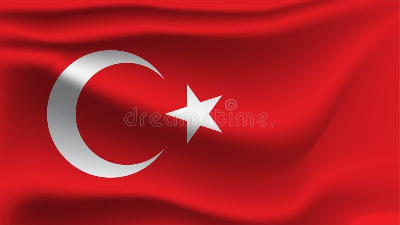 Bandiera turca che ondeggia con la bandiera dell'onda dell'illustrazione del vento 3D royalty illustrazione gratis
