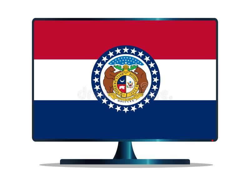 Bandiera TV dello stato del Missouri su bianco illustrazione vettoriale