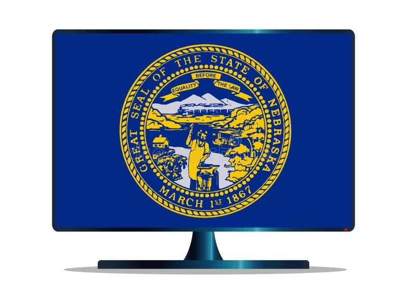 Bandiera TV dello stato del Nebraska su bianco illustrazione di stock