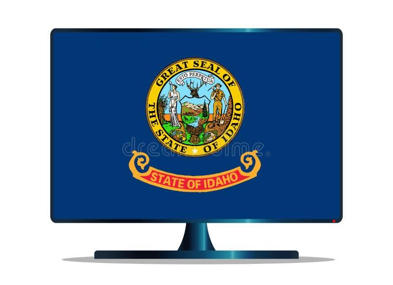 Bandiera TV dello stato dell'Idaho su bianco illustrazione di stock