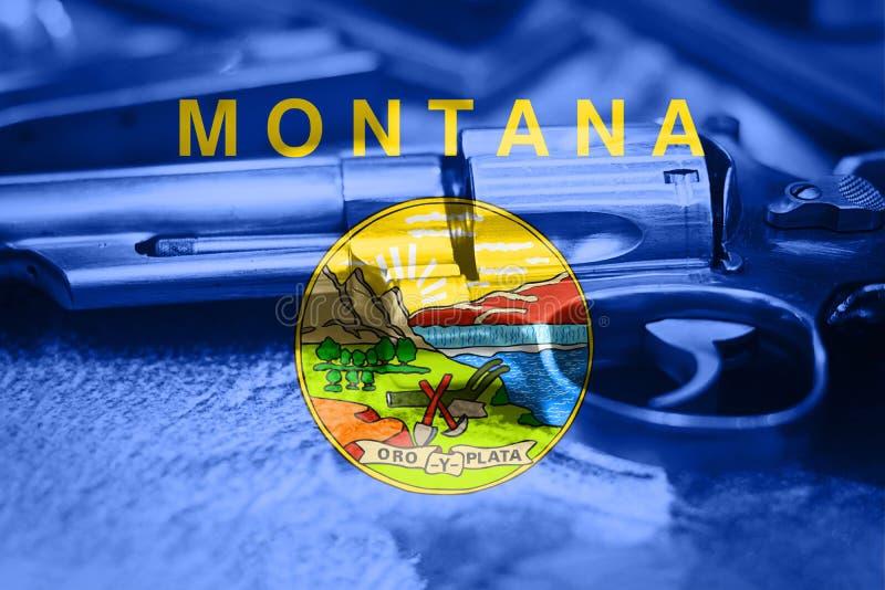 Bandiera U del Montana S controllo delle armi di stato U.S.A. Gli Stati Uniti sparano la legge fotografie stock