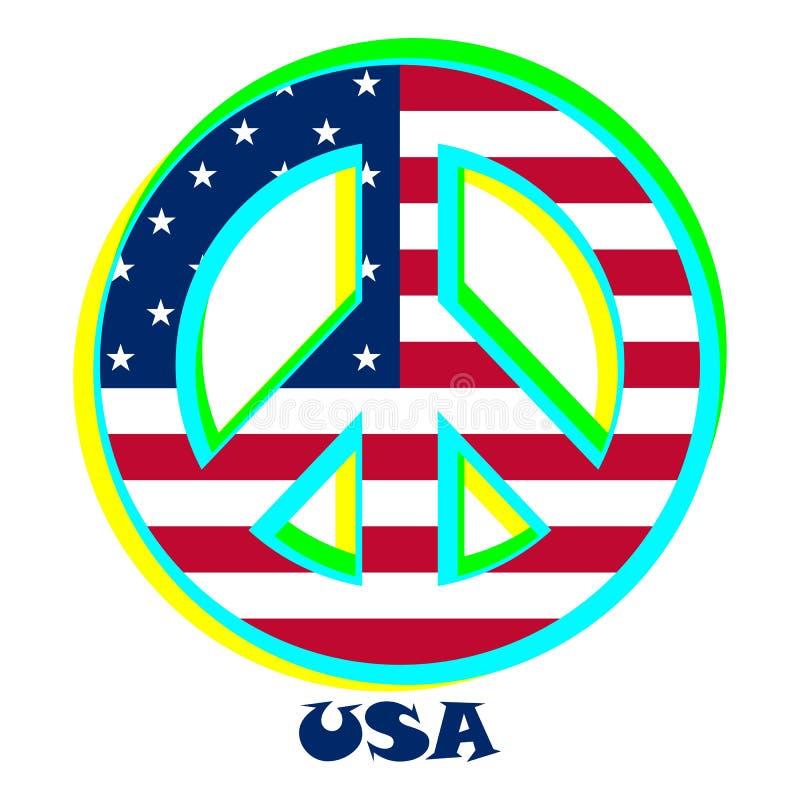 Bandiera U.S.A. come segno di pacifismo illustrazione vettoriale