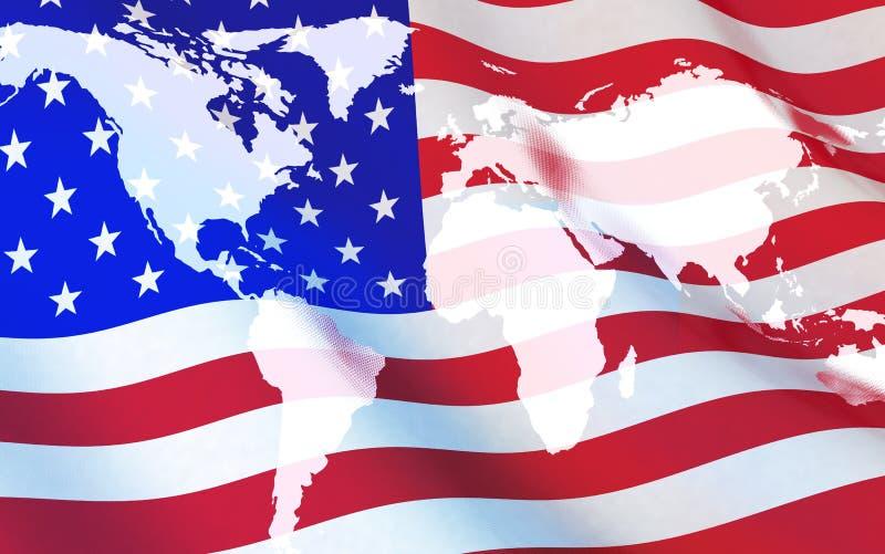 Bandiera U.S.A. e mappa di mondo illustrazione di stock