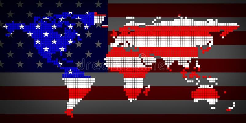 Bandiera U.S.A. e mappa di mondo illustrazione vettoriale